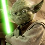 Yoda with a lightsaber from Star Wars